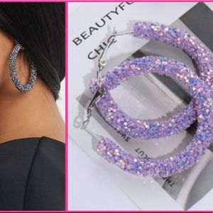 NEW! Purple glitter statement hoops